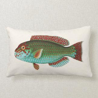 Exotic Tropical Fish in Aqua Blue and Red Lumbar Pillow