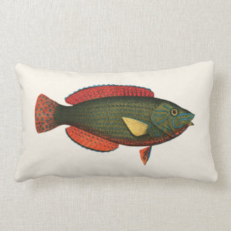 Exotic Tropical Fish in Green and Red Lumbar Pillow