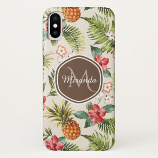 Exotic Tropical Pineapple Floral Brown Monogram Case-Mate iPhone Case