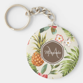 Exotic Tropical Pineapple Floral Brown Monogram Keychain