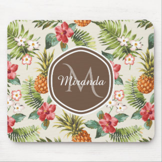 Exotic Tropical Pineapple Floral Brown Monogram Mouse Pad