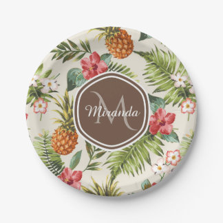 Exotic Tropical Pineapple Floral Brown Monogram Paper Plate