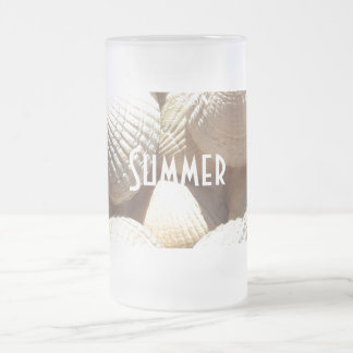 Exotic Tropical Sea Shell Summer Beach Photography Frosted Glass Beer Mug