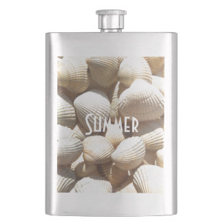 Exotic Tropical Sea Shell Summer Beach Photography Hip Flask