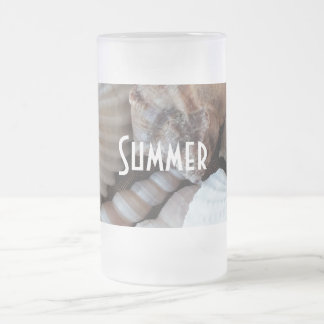 Exotic Tropical Summer Sea Shells Photography Frosted Glass Beer Mug