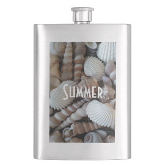 Exotic Tropical Summer Sea Shells Photography Hip Flask