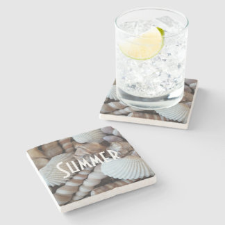 Exotic Tropical Summer Sea Shells Photography Stone Coaster