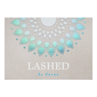 Exotic Turquoise Blue Floral Mandala Poster