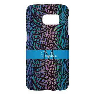 Exotic Turquoise Rainbow Zebra Animal Print Samsung Galaxy S7 Case