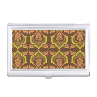 Exotic Vintage Autumn Colors Brown Green Yellow Business Card Holder