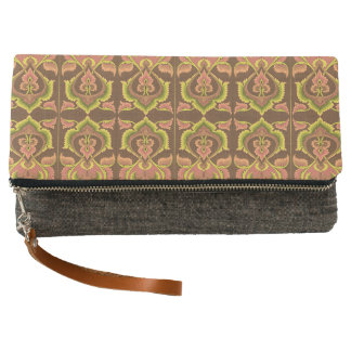 Exotic Vintage Autumn Colors Brown Green Yellow Clutch