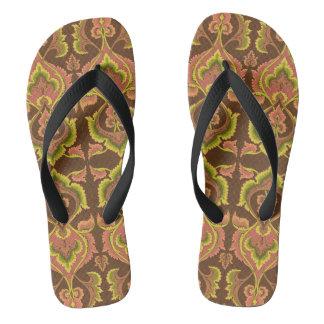 Exotic Vintage Autumn Colors Brown Green Yellow Flip Flops