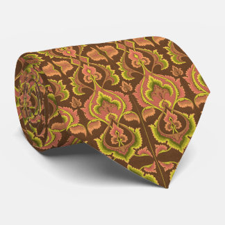 Exotic Vintage Autumn Colors Brown Green Yellow Tie