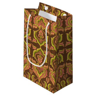 Exotic Vintage Autumn Colours Brown Green Yellow Small Gift Bag
