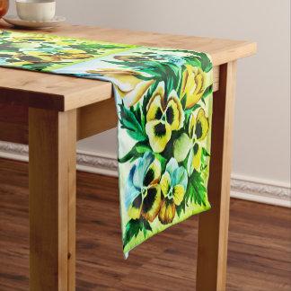 Exotic Watercolor Green Pansies Short Table Runner