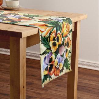 Exotic Watercolor Multicolored Pansies Short Table Runner