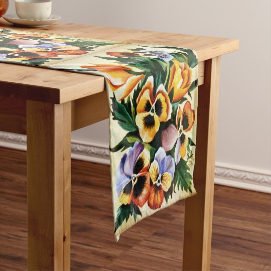 Exotic Watercolor Multicolored Pansies Short Table Runner