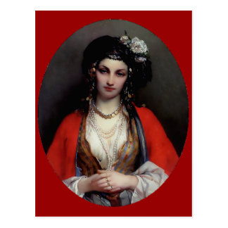 Exotic woman painting postcard