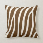 Exotic Zebra Stripes in Brown Throw Pillow