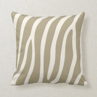 Exotic Zebra Stripes in Light Khaki Throw Pillow