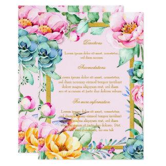 Exotical Bird-Gold Frame&Flower Wedding Directions Card