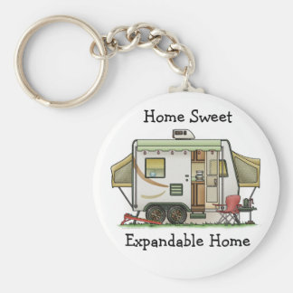 Expandable Hybred Trailer Camper Basic Round Button Keychain
