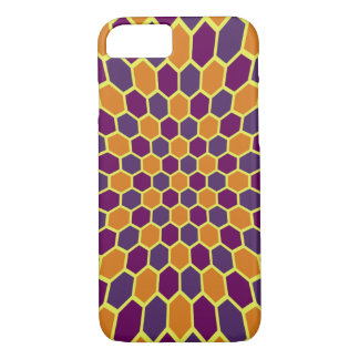 Expanding honeycomb hexagons orchid purple orange iPhone 7 case