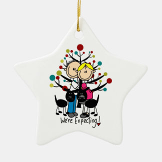 Expectant Couple Two Black Dogs Custom Ornament
