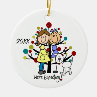 Expectant Couple Two Moms Dog Holiday Ornament