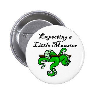 Expecting a little monster pinback button