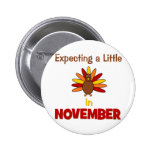 Expecting A Little Turkey in November! Pinback Buttons
