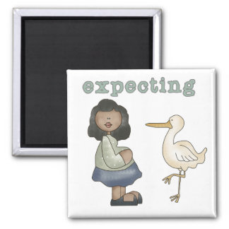 Expecting - African American Mom to Be and Stork Square Magnet