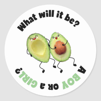 Expecting Avocado Gender Reveal Party Stickers
