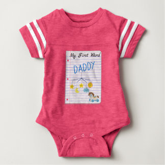 Expecting Baby Girl My First Word Daddy Note Paper Baby Bodysuit