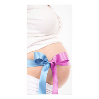 Expecting Boy or Girl--Pregnant Belly note card Personalized Photo Card