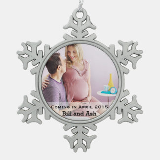 Expecting Couple Pewter Snowflake Ornament