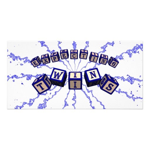Expecting Twins toy blocks in blue. Custom Photo Card