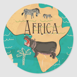 Experience Africa Vintage Travel Poster Classic Round Sticker