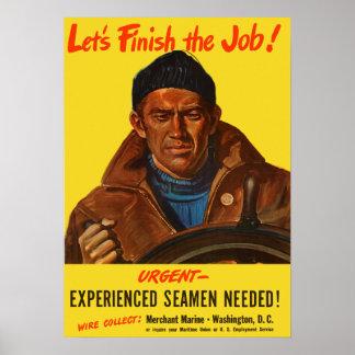 Experienced Seamen Needed -- Merchant Marine Print