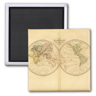 Experienced World Map 19 Square Magnet