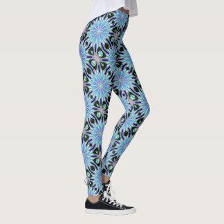 exploding blue stars black leggings