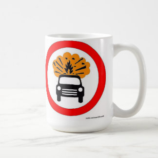 Exploding Car Carrier European Road Sign Coffee Mug