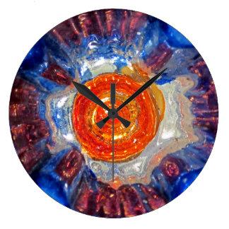 Exploding Cosmos Art Glass - Van Gogh Orange Sun Large Clock