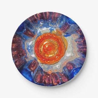 Exploding Cosmos Art Glass - Van Gogh Orange Sun Paper Plate