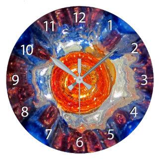 Exploding Cosmos - Van Gogh Orange Sun - numbers Large Clock