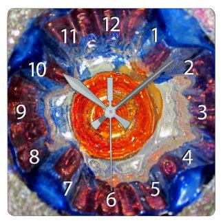 Exploding Cosmos - Van Gogh Orange Sun - numbers Square Wall Clock
