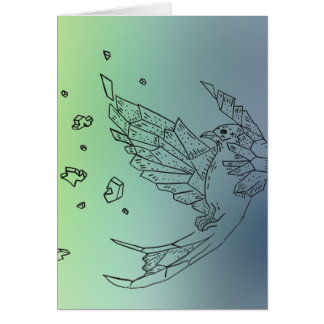 Exploding Origami Bird - blue, green, yellow Card