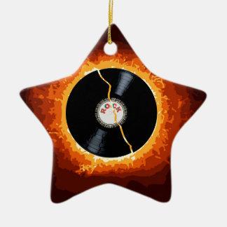 Exploding Record Ceramic Star Ornament