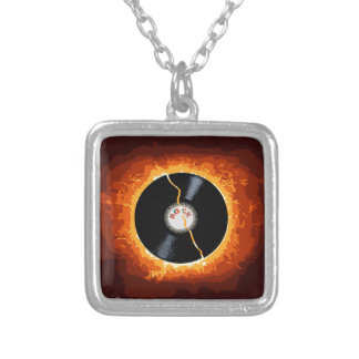Exploding Record Silver Plated Necklace