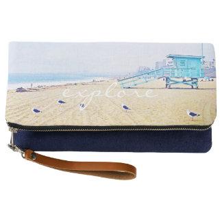 """Explore"" aqua pastel beach photo fold-over clutch"